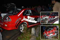 Rehan unharmed, car heavily damaged at a recent rally in Mauritius